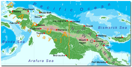 West Papua New Guinea Map