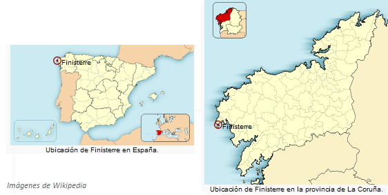 Map showing the location of Finisterre, in the NW corner of Spain.